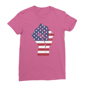 America First Hand Flag Womens Fine Jersey T-Shirt Apparel Flagdesignproducts.com