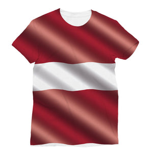 Waving Latvia Flag Sublimation T-Shirt Apparel Flagdesignproducts.com