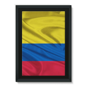 Waving Colombia Fabric Flag Framed Eco-Canvas Wall Decor Flagdesignproducts.com
