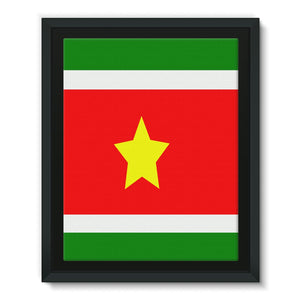 Flag Of Suriname Framed Eco-Canvas Wall Decor Flagdesignproducts.com