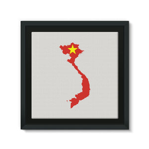 Vietnam Continent Flag Framed Eco-Canvas Wall Decor Flagdesignproducts.com