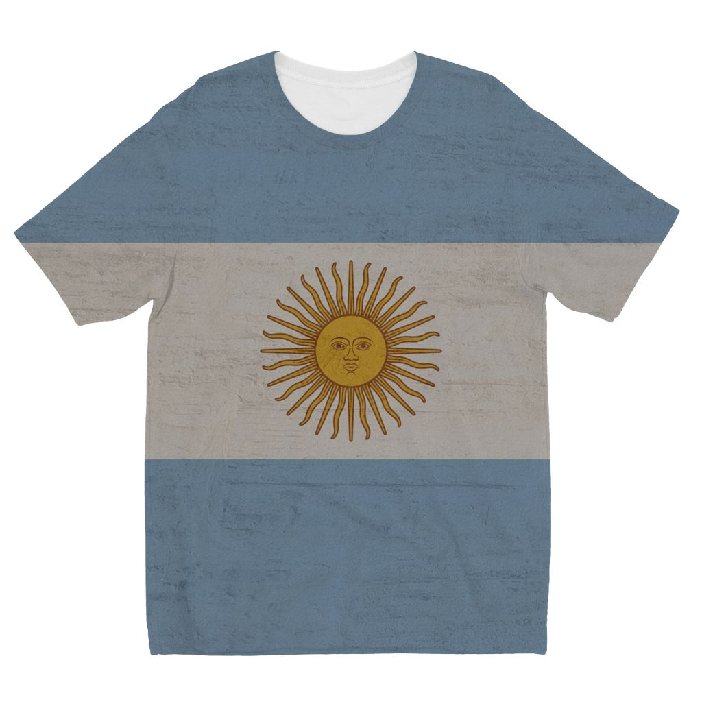 Argentina Stone Wall Flag Kids Sublimation T-Shirt Apparel Flagdesignproducts.com