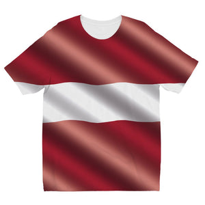 Waving Latvia Flag Kids Sublimation T-Shirt Apparel Flagdesignproducts.com