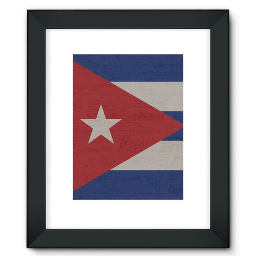 Cuba Stone Wall Flag Framed Fine Art Print Decor Flagdesignproducts.com
