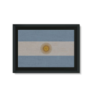 Argentina Stone Wall Flag Framed Eco-Canvas Decor Flagdesignproducts.com