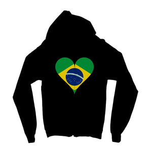 Brazil Heart Flag Kids Zip Hoodie Apparel Flagdesignproducts.com