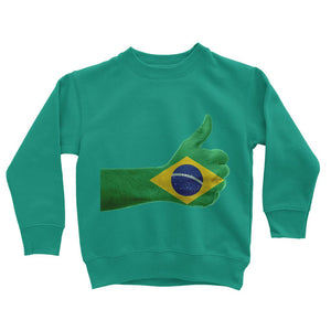 Brazil Hand Flag Kids Sweatshirt Apparel Flagdesignproducts.com