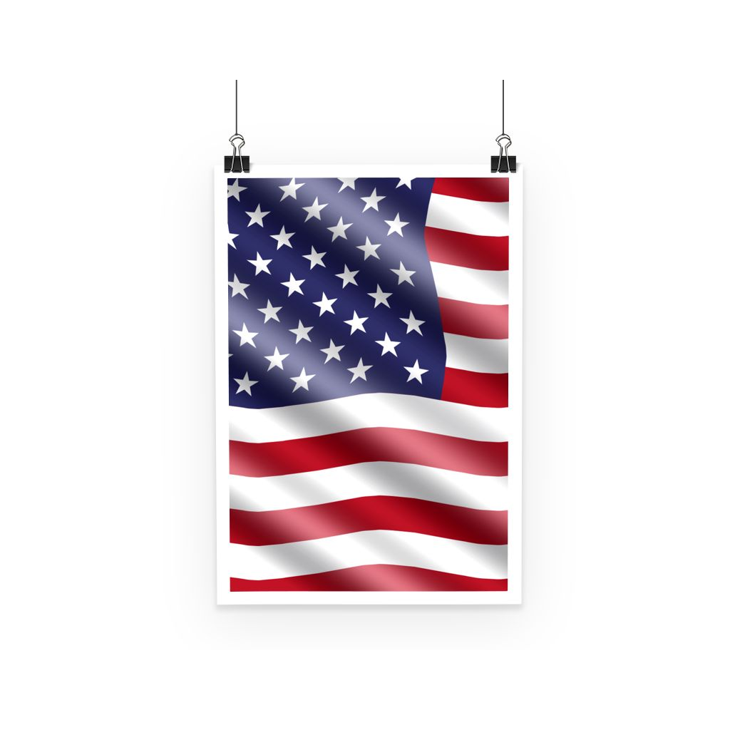 Waving United States Flag Poster Wall Decor Flagdesignproducts.com