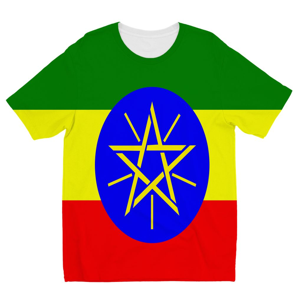 Flag Of Ethiopia Kids Sublimation T-Shirt Apparel Flagdesignproducts.com