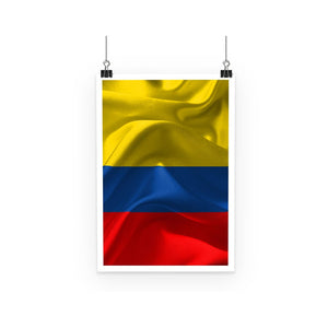 Waving Fabric Colombia Flag Poster Wall Decor Flagdesignproducts.com