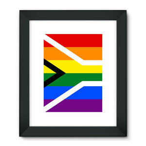 South African Rainbow Flag Framed Fine Art Print Wall Decor Flagdesignproducts.com