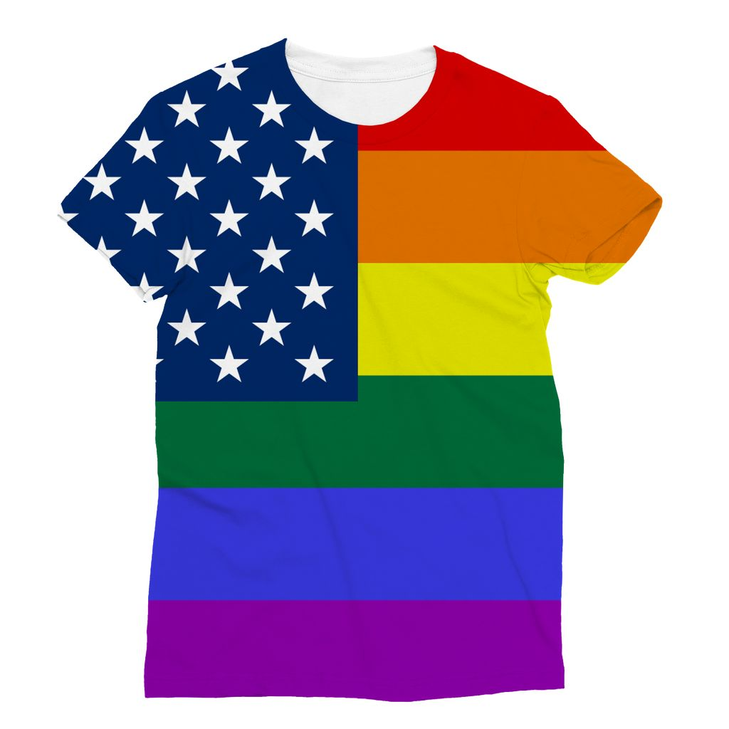 Colorful Usa Rainbow Flag Sublimation T-Shirt Apparel Flagdesignproducts.com