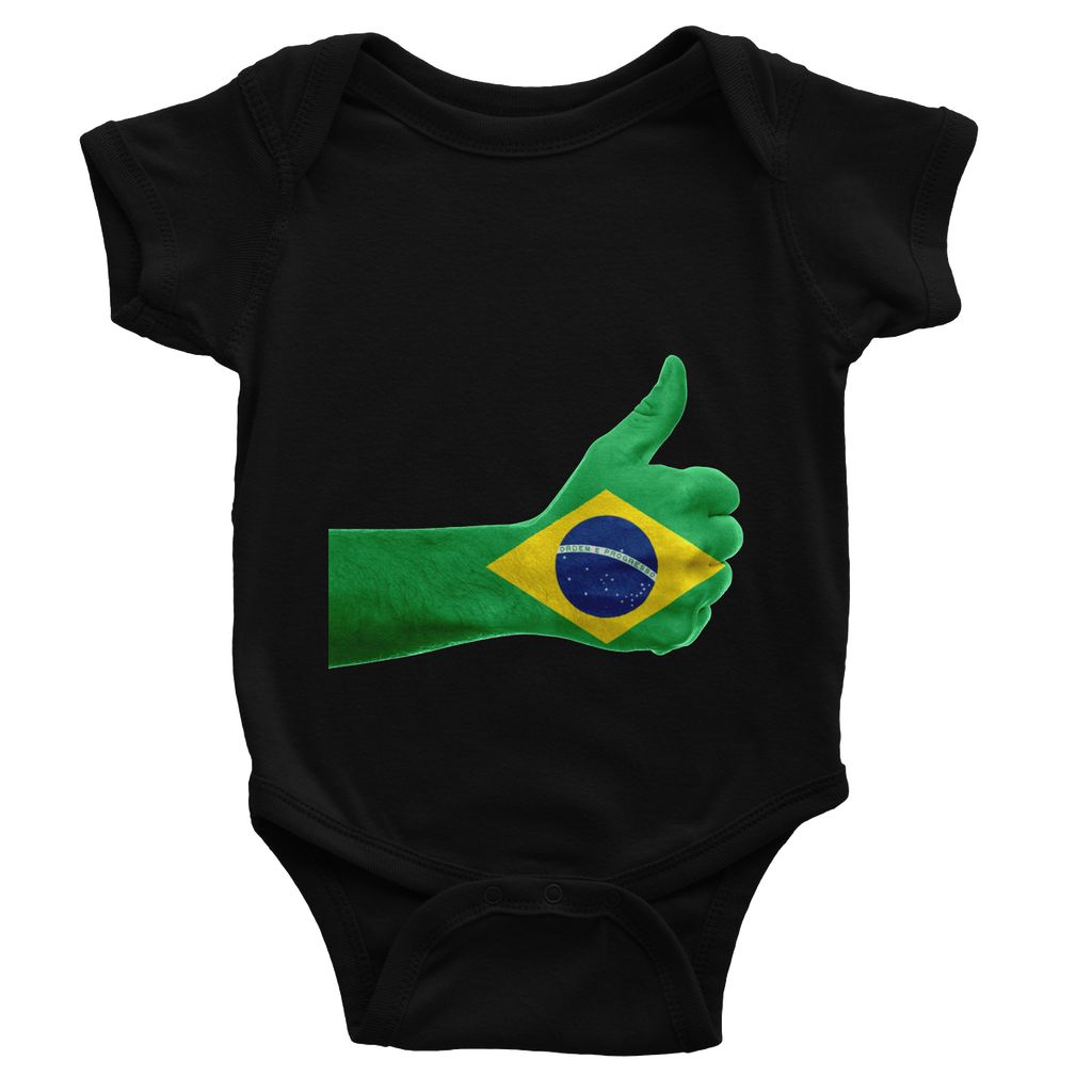 Brazil Hand Flag Baby Bodysuit Apparel Flagdesignproducts.com
