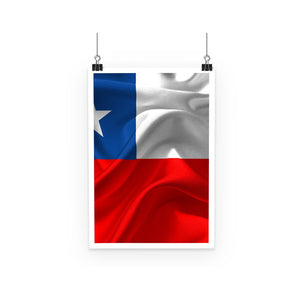Waving Chile Flag Poster Wall Decor Flagdesignproducts.com