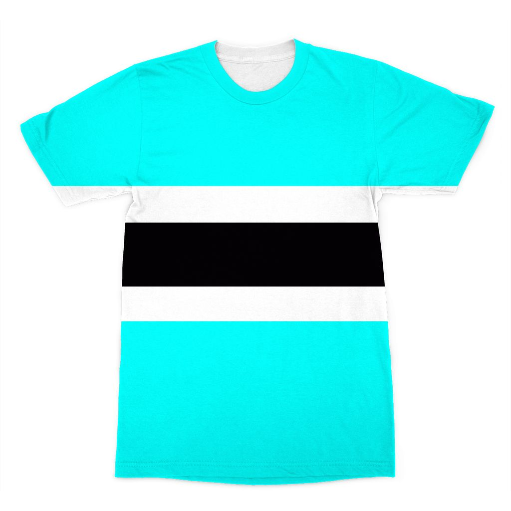 Flag Of Botswana Sublimation T-Shirt Apparel Flagdesignproducts.com