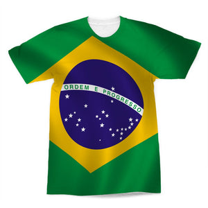 Waving Brazil Flag Sublimation T-Shirt Apparel Flagdesignproducts.com