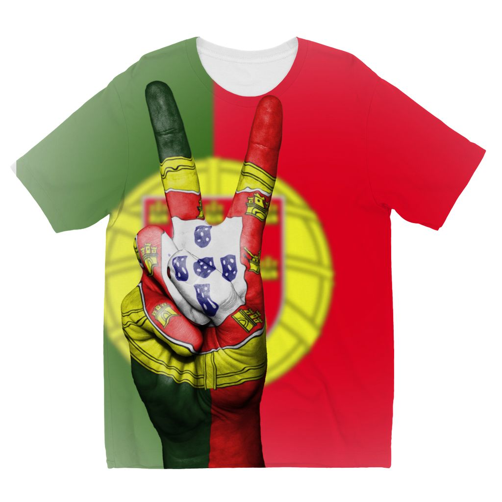 Portugal Fingers Flag Kids Sublimation T-Shirt Apparel Flagdesignproducts.com
