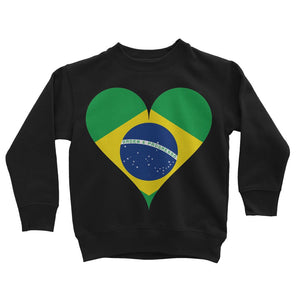 Brazil Heart Flag Kids Sweatshirt Apparel Flagdesignproducts.com