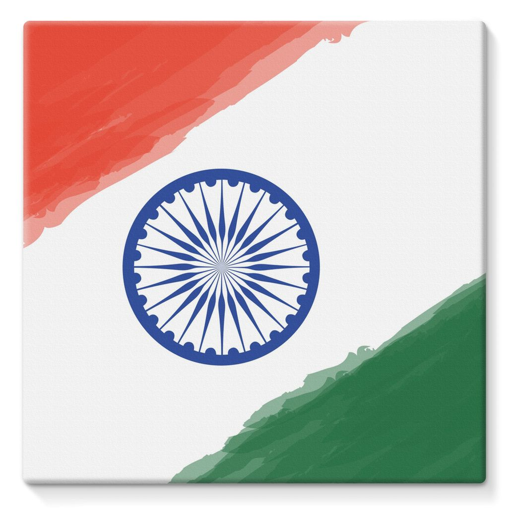 Watercolor India Flag Stretched Canvas Wall Decor Flagdesignproducts.com