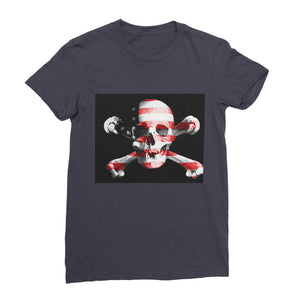 Usa Flag Pirate Womens Fine Jersey T-Shirt Apparel Flagdesignproducts.com