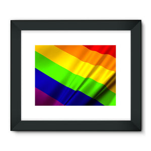 Waving Rainbow Lgbt Flag Framed Fine Art Print Wall Decor Flagdesignproducts.com