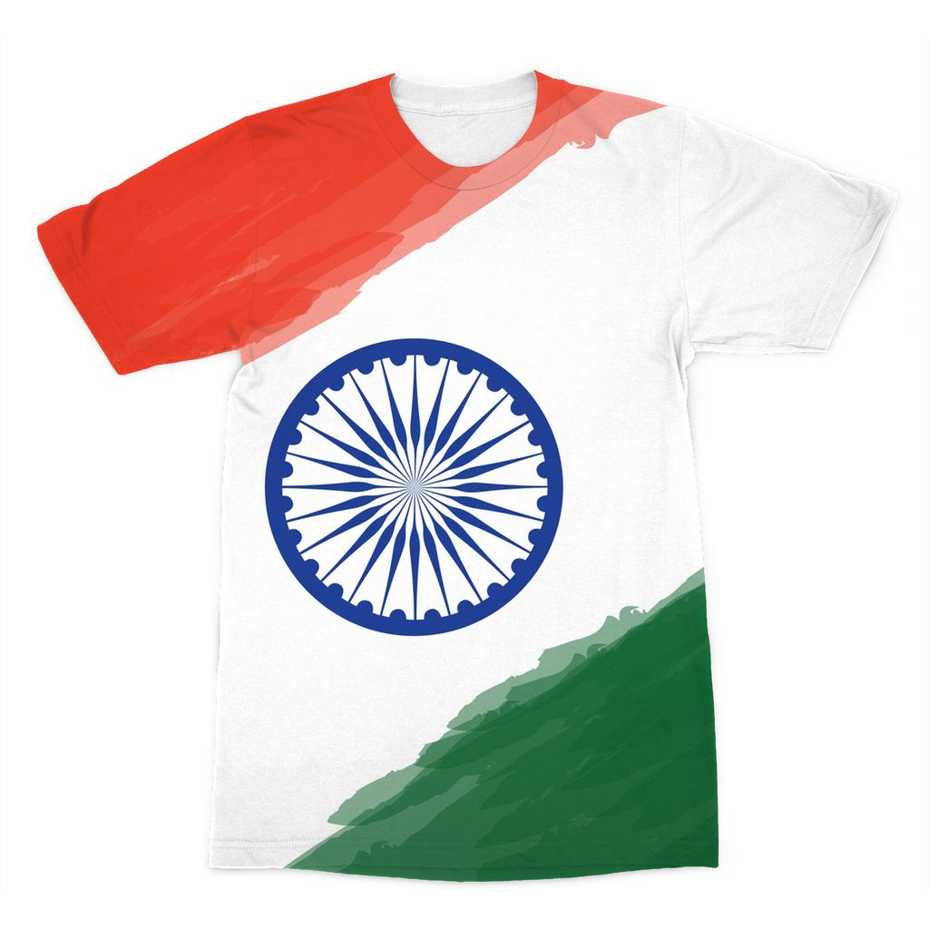 Watercolor India Flag Sublimation T-Shirt Apparel Flagdesignproducts.com