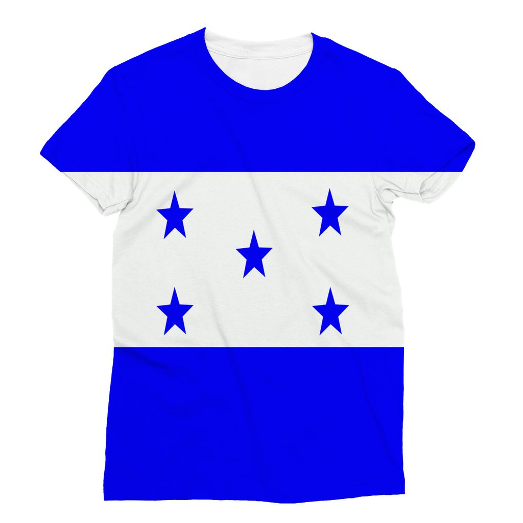 Flag Of Honduras Sublimation T-Shirt Apparel Flagdesignproducts.com