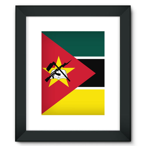 Basic Mozambique Flag Framed Fine Art Print Wall Decor Flagdesignproducts.com