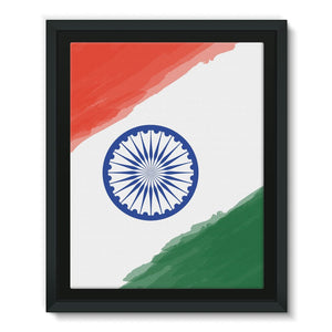 Watercolor India Flag Framed Eco-Canvas Wall Decor Flagdesignproducts.com