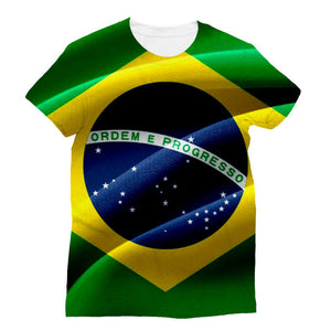 Waving Fabric Brazil Flag Sublimation T-Shirt Apparel Flagdesignproducts.com