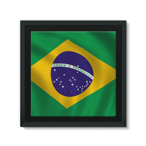 Waving Brazil Flag Framed Canvas Wall Decor Flagdesignproducts.com