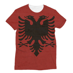 Albania Stone Wall Flag Sublimation T-Shirt Apparel Flagdesignproducts.com