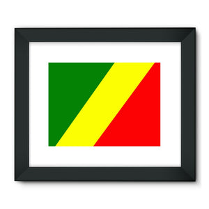 Flag Of The Rep Congo Framed Fine Art Print Wall Decor Flagdesignproducts.com