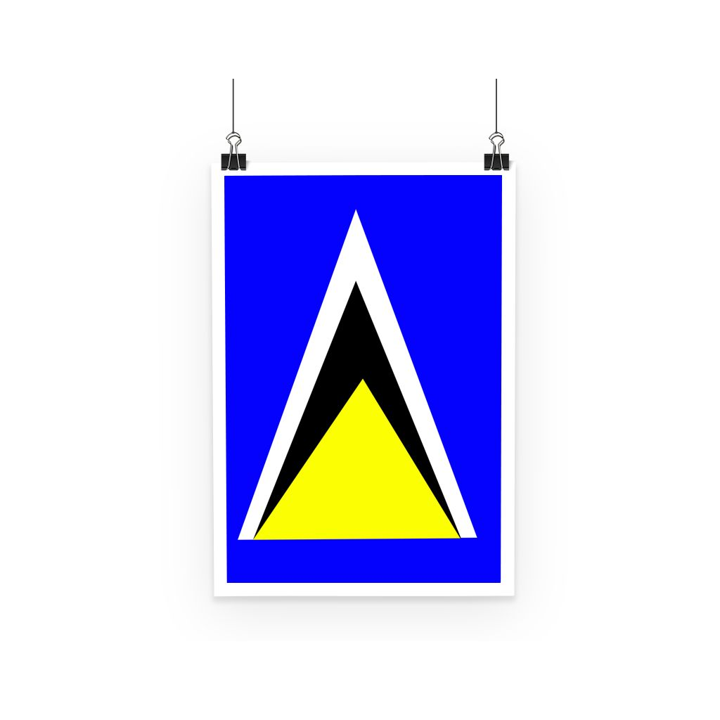 Flag Of Saint Lucia Poster Wall Decor Flagdesignproducts.com