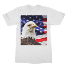 American Eagle And Usa Flag Softstyle Ringspun T-Shirt Apparel Flagdesignproducts.com