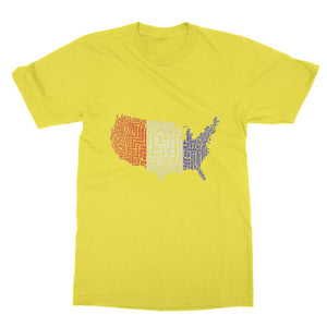 Usa Text Continent Flag Softstyle Ringspun T-Shirt Apparel Flagdesignproducts.com
