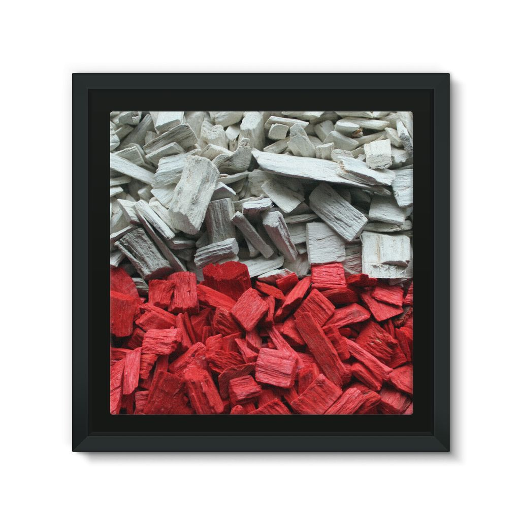 Poland Wood Chips Flag Framed Canvas Wall Decor Flagdesignproducts.com