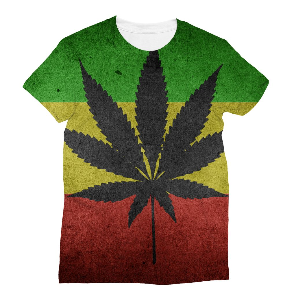 Green Yellow & Red Cannabis Sublimation T-Shirt Apparel Flagdesignproducts.com