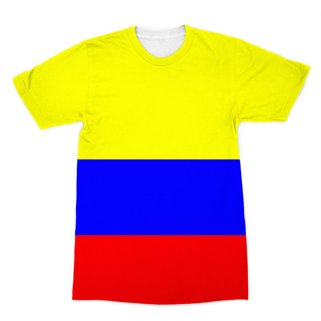 Flag Of Colombia Sublimation T-Shirt Apparel Flagdesignproducts.com