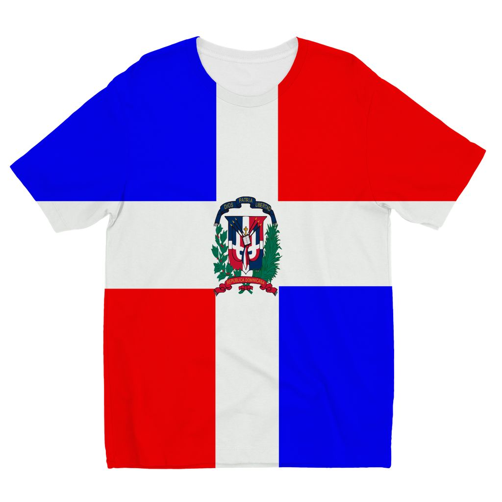 Flag Of Dominican Republic Kids Sublimation T-Shirt Apparel Flagdesignproducts.com