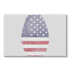 Usa Flag Finger Print Stretched Eco-Canvas Wall Decor Flagdesignproducts.com