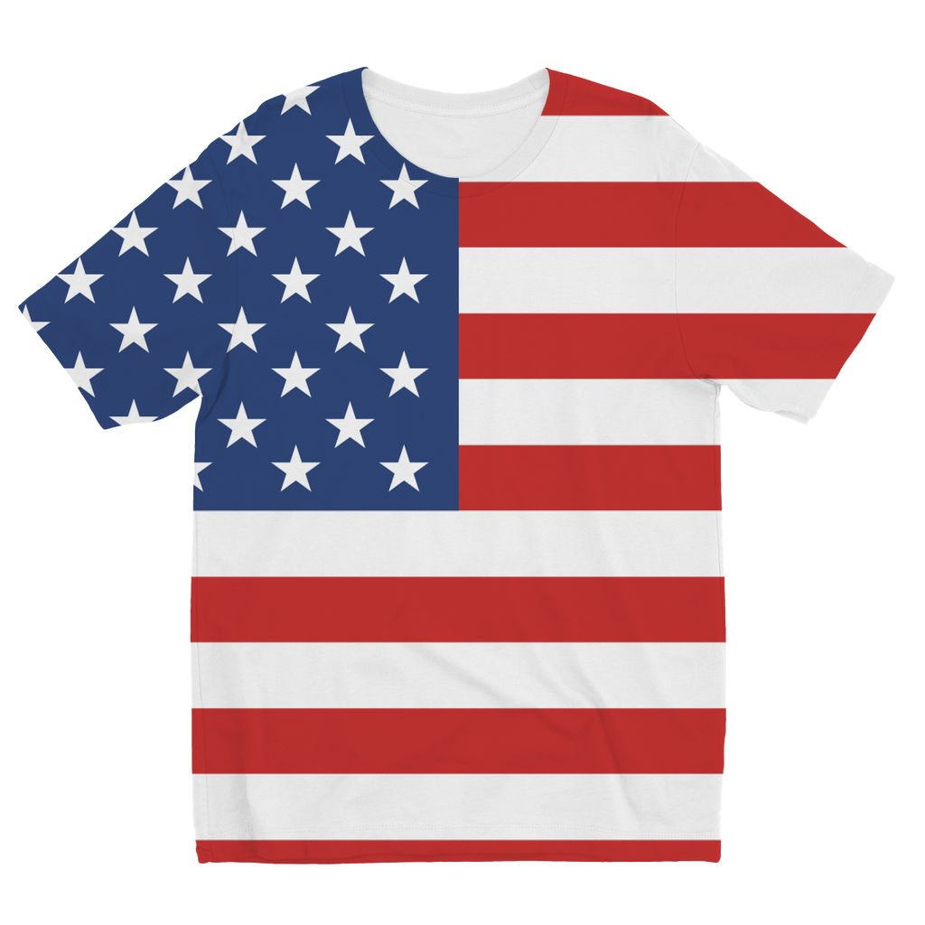 Basic America Flag Kids Sublimation T-Shirt Apparel Flagdesignproducts.com