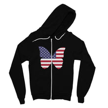 Usa Flag Butterfly Fine Jersey Zip Hoodie Apparel Flagdesignproducts.com