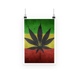 Green Yellow & Red Cannabis Poster Wall Decor Flagdesignproducts.com