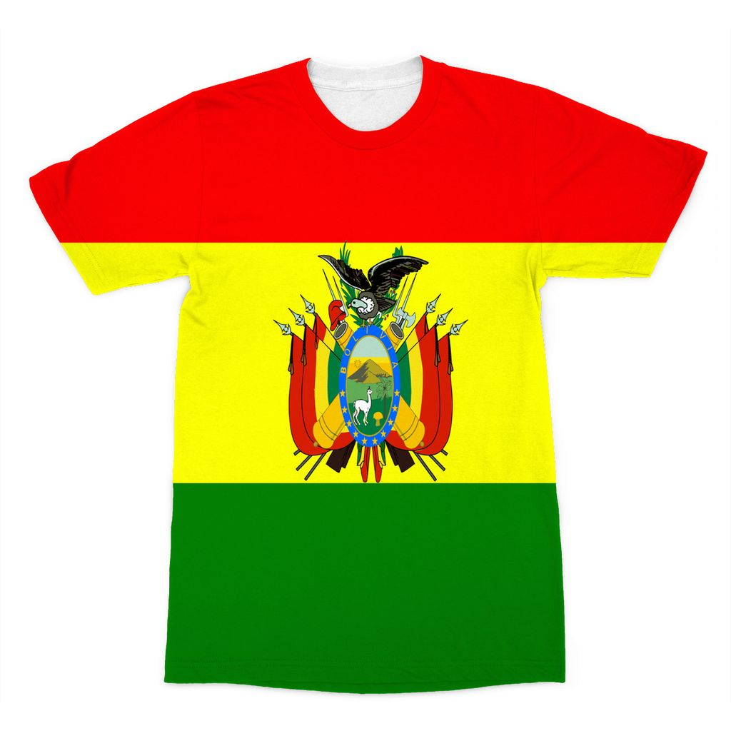 Flag Of Bolivia Sublimation T-Shirt Apparel Flagdesignproducts.com