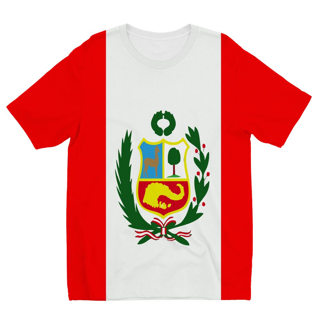 Flag Of Peru Kids Sublimation T-Shirt Apparel Flagdesignproducts.com