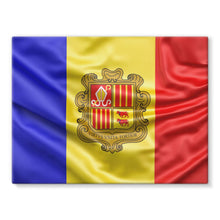 Waving Andorra Fabric Flag Stretched Eco-Canvas Wall Decor Flagdesignproducts.com