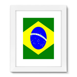 Flag Of Brazil Framed Fine Art Print Wall Decor Flagdesignproducts.com