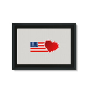 Usa Flag And Heart Framed Eco-Canvas Wall Decor Flagdesignproducts.com