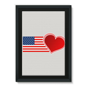 Usa Flag And Heart Framed Canvas Wall Decor Flagdesignproducts.com